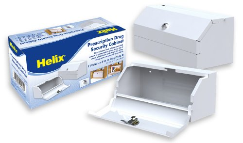Helix Locking Prescription Drug Cabinet, Heavy-Duty Steel Construction, White (27050)