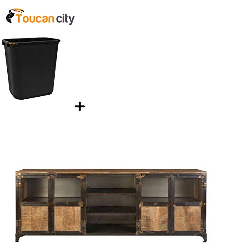 Toucan City 7 Gal Trash can and Home Decorators Collection Manchester Natural Reclaimed Entertainment Center 9206100950