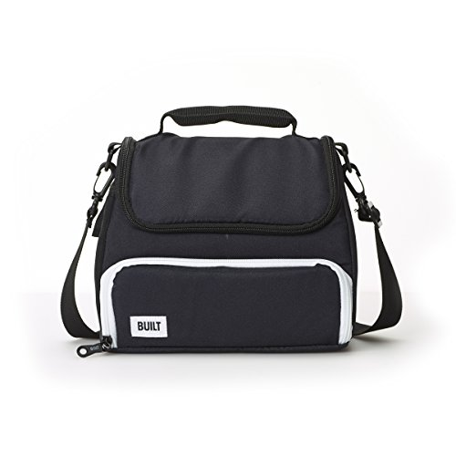 Built NY 5227330 Prime Water-Resistant Insulated Fabric Lunch Bag with Zip Closure and Removable Shoulder Strap 10.25-Inch Black
