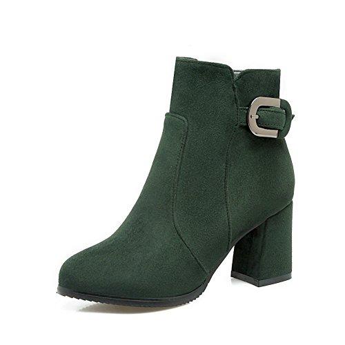 BalaMasa Womens Zipper Fashion Casual Suede Boots Green psS5Y7Bs