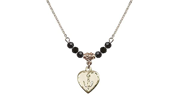 18-Inch Hamilton Gold Plated Necklace with 6mm Jet Birthstone Beads and Rosebud Charm.