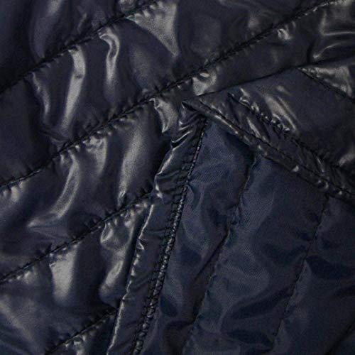 Qualit Style Quilting Blau Hiver Automne Stepp Confortables Blouson Unicolore Chemine avec Spcial Transition Blouson clair Chaud Doux De Haute Long Outerwear Fermeture Lumire Manches Loisir fwxBfq