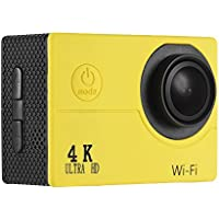 Andoer 4K 30fps 16MP WiFi Action Sports Camera 1080P 60fps Full HD 4X Digital Zoom Diving 40m 170° Wide Angle Lens 2 LCD Support Slow Motion Drama Photography (Yellow)