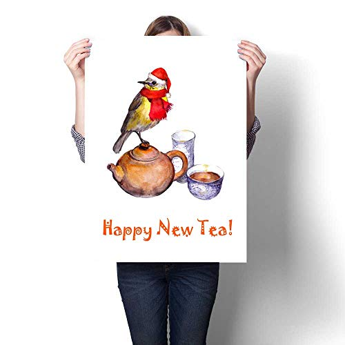 Anshesix Canvas Wall Art Christmas Greeting Postcard - Songbird in red hat Tea Pot Art Stickers 20