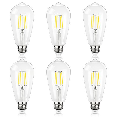 4w White Led (Antique LED Bulb, SHINE HAI 4W (40W Equivalent) ST64 Vintage Edison Light Bulb LED Lighting, 470 Lumens Daylight White 5000K E26 Base, pack of 6)