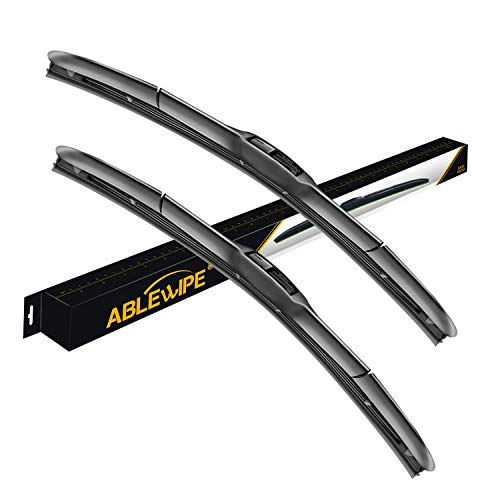 "ABLEWIPE Windshield Hybrid Wiper 24"" + 19"" Front Window J/U Hook Wiper Blades Model 18O13B(Set of 2)"