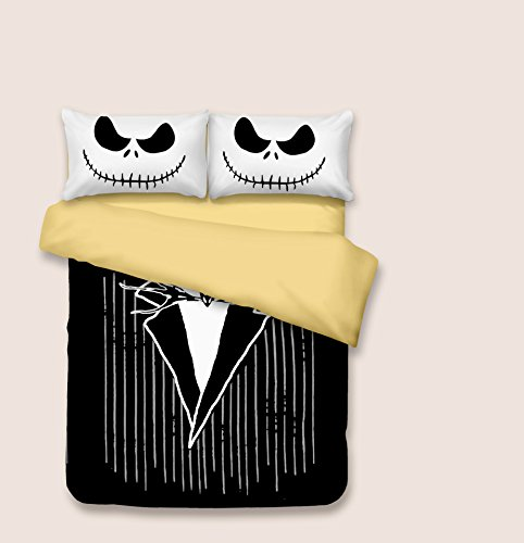 KTKRR Christmas Duvet Cover Set (no comforter),Scarecrow Style Nightmare Before Christmas 3pc Bedding Set, Duvet Cover with Pillowcase Gift 3D Terrorist Design (QUEEN, Jack (Queen Jack)