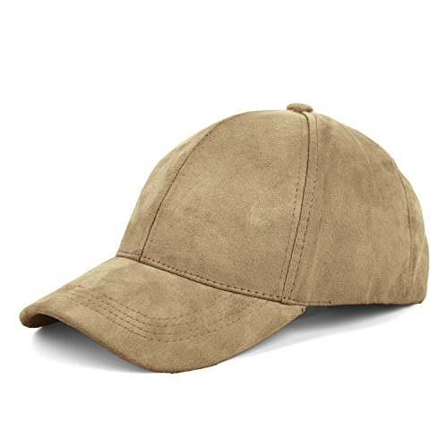 JOOWEN 6 Panel Faux Suede Leather Classic Adjustable Baseball Cap (Camel) Faux Leather Panel