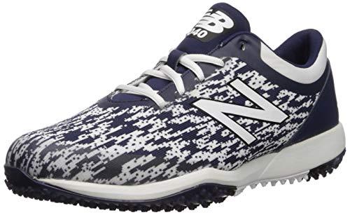 New Balance Men's 4040 V5 Turf Baseball Shoe, Navy/White, 16 M US