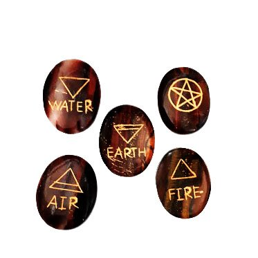 (Crocon Tiger Eye 5 Element Tumble Stones Set Engraved Earth Water Air Fire Ether Symbol Energy Generator Kit for Reiki Healing Chakra Balancing Aura Cleansing & EMF Protection Size 30-35 mm)