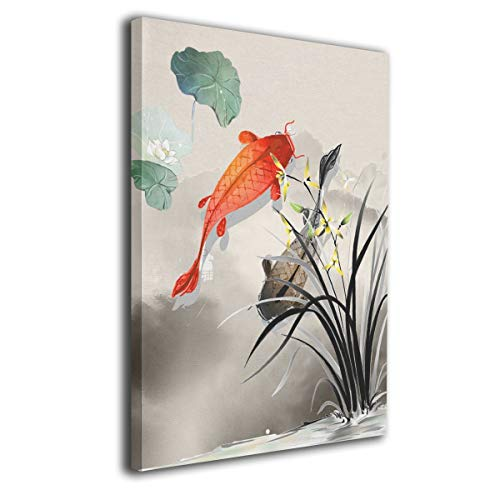 JAWANNA Fish Canvas Wall Art Koi in Lotus Pond Chinese Ink Oil Canvas Paintings Artwork for Walls Home Decor Classical Room Decorations Ready to Hang (Inner Framed) - Chinese Lotus Flower Art