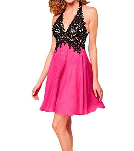 Royaldress Attraktive Schwarz Pink Neckholder Abendkleider Partykleider Promkleider V-ausschnitt Mini Kurz A-linie Rock