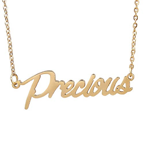 HUAN XUN 18k Gold Plated Small Words Necklace for Teen Girls, Precious