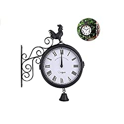 JYPYH Double Faced Cock Bell Shape Iron Wall Clock, Outdoor Wrought Iron Wall Clock Garden Creative Fashion Clocks Without Battery, for Garden,Indoor(Black)