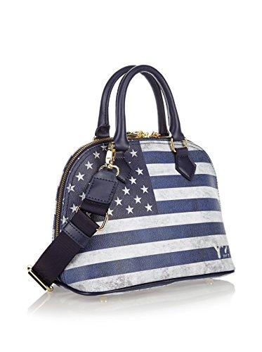 BORSA DONNA flag color bauletto small BLU C-324.usa.bl