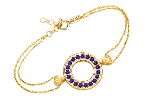 AFFY Round Shape Simulated Amethyst Circle Frame Link Chain Bracelets in 14k Yellow Gold Over Sterling Silver 7.5