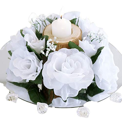 BalsaCircle 8 White Silk Roses Candle Rings - Artificial Flowers Wedding Party Centerpieces Arrangements Bouquets Supplies