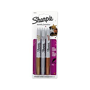 Sharpie Metallic Permanent Markers, Fine Point, Assorted Colors, 3-Count