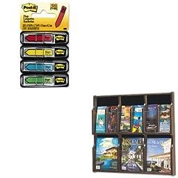KITMMM684SHSAF5703MH - Value Kit - Safco Expose Adj Magazine/Pamphlet 6-Pocket Display (SAF5703MH) and Post-it Arrow Message 1/2amp;quot; Flags (MMM684SH)