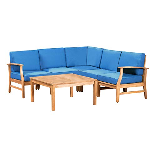 GDF Studio Capri Outdoor Patio Furniture Wood 6 Piece Chat Set with Water Resistant Cushions (Fabrics Furniture Capri)