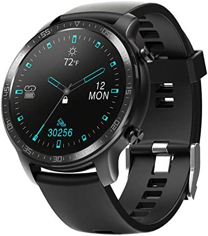 YIRSUR Smart Watch for Men and Women, Support Wireless Charging, HD Screen Fitness Tracker, IP68 Waterproof Heart Rate Recorder Step Counter, Message Reminder for Android/iOS Phones (Black)