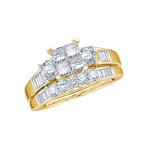 - Size - 4 - 10k Yellow Gold Diamond Ladies Bridal Engagement Ring with Matching Wedding Band Two 2 Ring Set Invisible Solitaire Three 3 Stone Style Center Setting with Side Stones Channel Set with Five 5 Stone Princess , Round & Baguette Cut Diamond Ring 5mm (1.0 cttw)