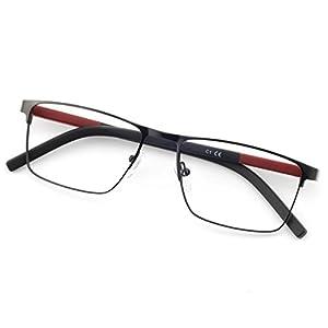 OCCI CHIARI Rectangle Full-Rim Metal Optical Glasses Acetate Arm For Bussiness Men W-CRIFO (Black-Red, 54)