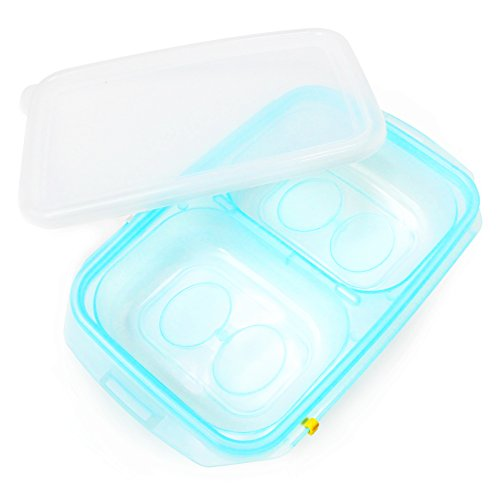 JMGreen RRe Plus Baby Food Freezer Tray [2 Sections, 10.6oz/Section] with Date Slider. Flexible, Twistable. BPA Free. Wean Babies into Eating Solid Food. Double Sealing Lid Provided. - 10.6 Ounce Cereal