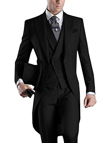 YBang Men's Classic 3 Pieces Tux Suit One Button Regular Fit Long Tail Tuxedos(Black,36R) -
