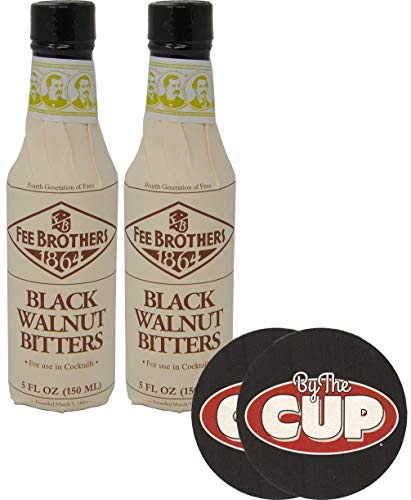 (Fee Brothers Bitters Black Walnut Cocktail Bitters 5 Ounce (Pack of 2) with By The Cup Coasters)