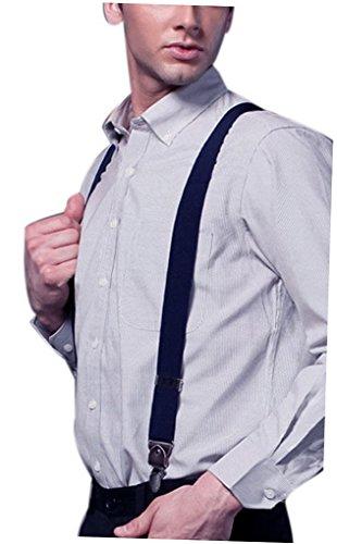V Homme Cuir Pour Solide Bretelles Forme Clips Marine 4 Acme Jeans Avec Bleu Pantalon Entièrement Casual Réglable Élastique 5WB0nq4