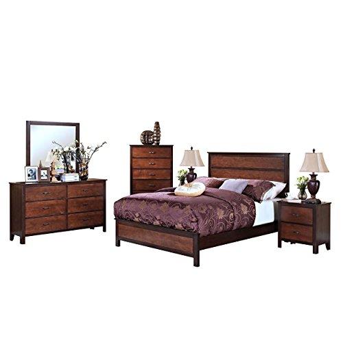 Brunswick Modern 6 Piece Queen Bed, 2 Nightstand, Dresser & Mirror, Chest in 2 Tone Copper with Chestnut Trim Brunswick Mirror