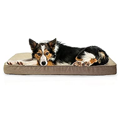 Furhaven Pet Sheepskin/Suede Deluxe Orthopedic Mattress Pet Bed for Dogs and Cats, Large Clay