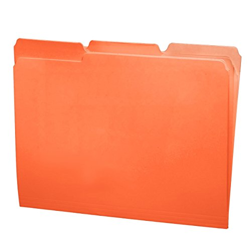 File Folders, 1/3 Cut Top Tab, Letter Size, Perfect for Organizing Documents in File Drawers, Box of 100 (Orange)