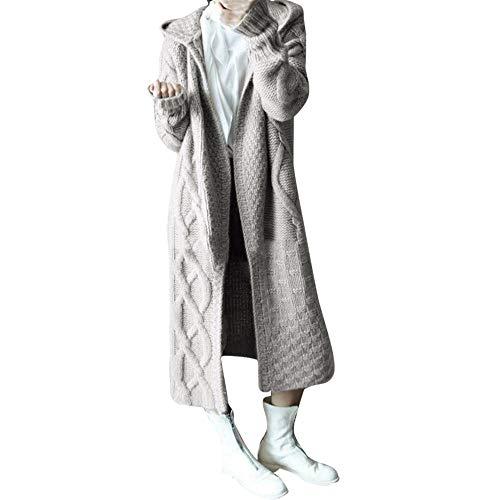 Sunhusing Autumn Winter Women's Hooded Thick Knit Cardigan Long Trench Coat Twist Pattern Sweater Coat Outwear Gray