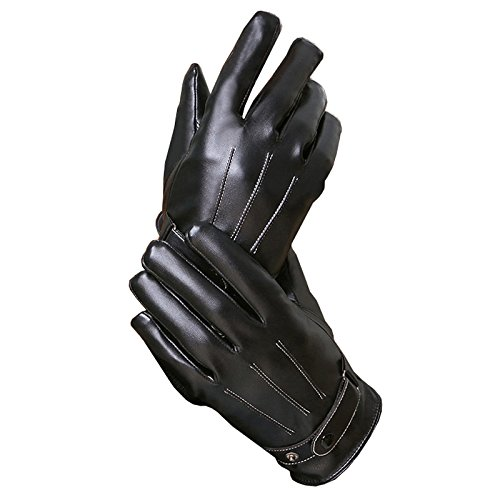 OEM Autumn and winter outdoor riding motorcycle driving Korean warm thick cotton cashmere with true tablet computer/mobile phone touch touch screen gloves leather gloves for men (Three line black)