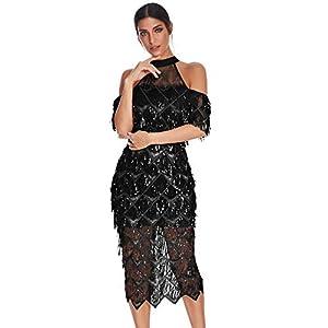 meilun Womens Sparkling Sequin Fringe Mermaid Midi Evening Dress Prom Dress