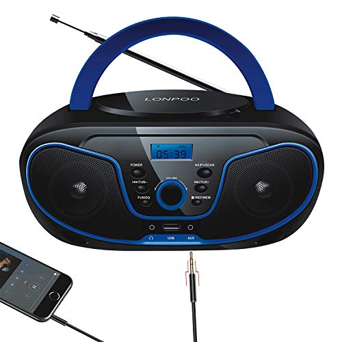 LONPOO CD Player Portable Boombox FM Radio, Bluetooth MP3/CD Player, with Aux-in, USB&Headphone Jack