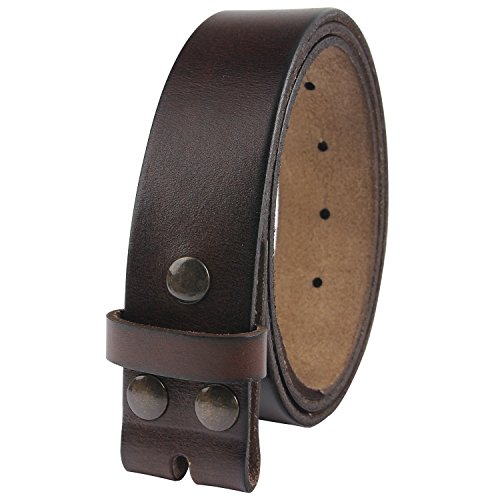 "NPET Men's Genuine Leather Belt Full Grain Snap On Belts 1.5"" Wide (36-38, Coffee)"