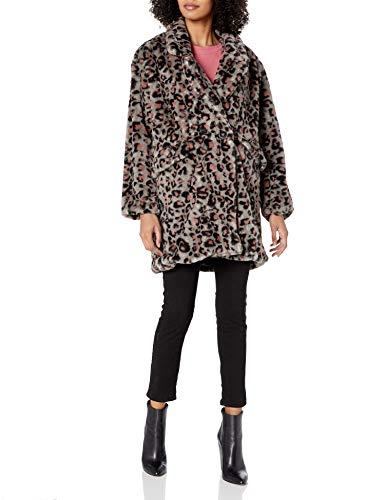 Steve Madden Women's Faux Fur Fashion Jacket, Leopard Grey Leopard, M