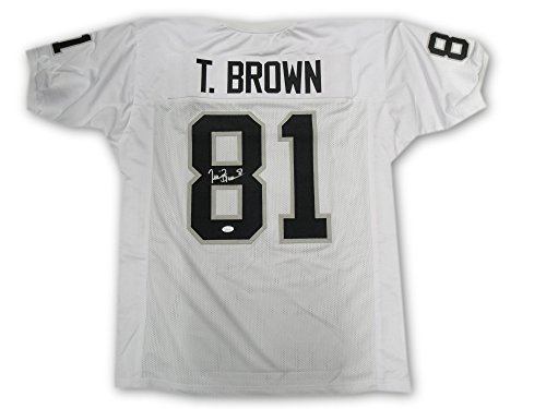 Tim Brown Hand Signd Autographed Oakland Raiders White Jersey JSA Size X-Large