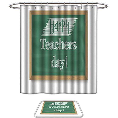 UHOO Shower Curtain and Mat SetHappy Teacher Day School Chalkboard with calligraphic Text Written in Chalk Realistic Greeting Banner for Your Congratulations Cards. Set of 2 Machine Washable