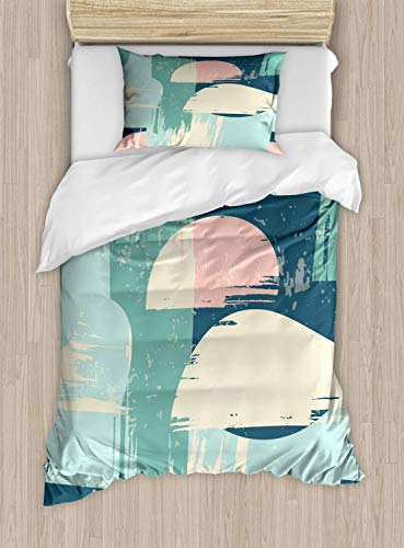 Abstract Duvet Cover Set Twin Size Modern Art Style Abstraction Of Geometric Shapes Grunge Effect Hand Drawn Pattern,2 Piece Bedding Set With With 1 Pillowcase For Kids Bedding,Multicolor