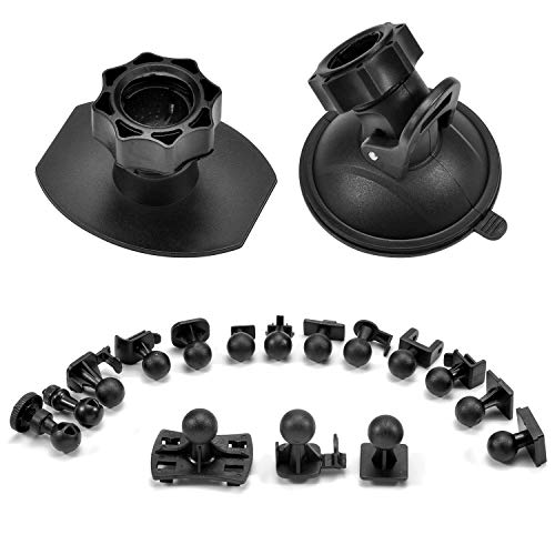 Suction Cup Mount Holder Dash Cam Mount 3M Double-Sided Adhesive Mount, Come with 15+ Swivel Ball Adapters for Rexing V1, Z-Edge, Roav, AUKEY, Old Shark, YI, UGSHD and Most Dash Cameras