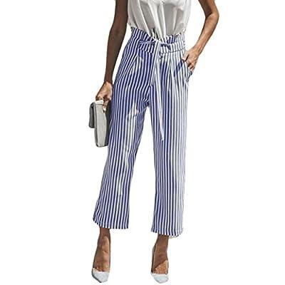 Pervobs Women Pants, Clearance! Women Fashion Loose Stripe High Waist Elastic Waist Straight Wide Leg Pants Trousers by Pervobs