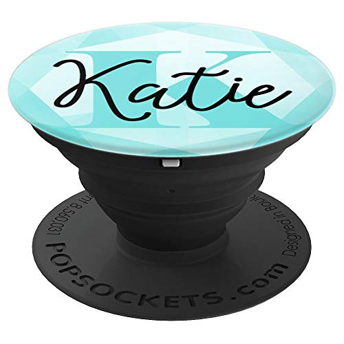 Katie Name Aqua Teal Diamond Collapsible Phone Grip - PopSockets Grip and Stand for Phones and Tablets