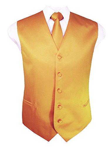 (Guytalk Mens Solid Tuxedo Vest Necktie and Handkerchief Set Large Gold)