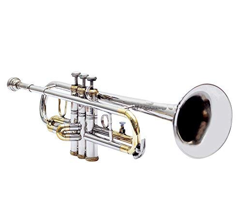 TRUMPET Bb PITCH FOR SALE NICKEL + BRASS COLOR WITH FREE CASE AND MOUTHPIECE