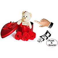 Dhaman Musical Toy Fabric Heart-Shaped Box with Teddy and Roses Musical Heart Box