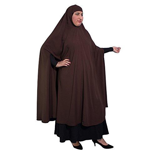 XL Khimar m Handöffnungen - DUNKELBRAUN - Islamische Kleidung - 10-1003